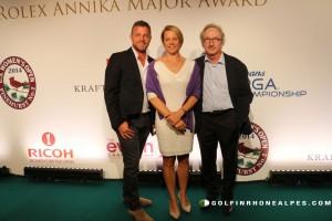 Annika Sorrenstam entourée par Jacques Bungert, Directeur du Tournoi  et Franck Riboud, Président de The Evianchampionship